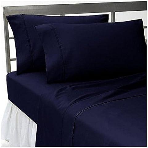 Ropa de cama egipcio - 600tc juego para cama de con Set de funda de edredón y faldón para cama King UK Nevy azul de 100% percal de algodón egipcio