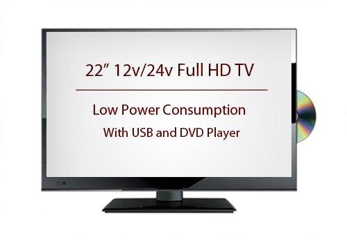 22  12 Volt Full HD Digital Ultra slim DVD LED TV Caravan  Boat  Marine  HGV 24 V 12V