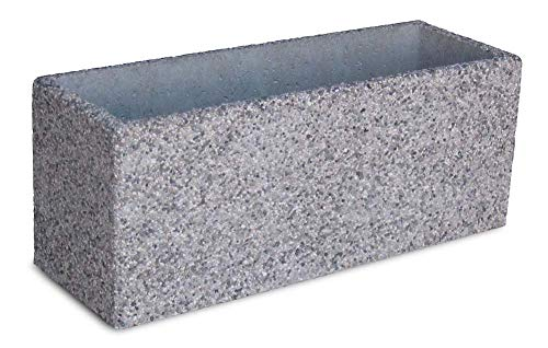 Rc rinaldi - fioriera rettangolare in cemento e ghiaia lavata (graniglia di marmo) - 2 dimensioni e 3 finiture disponibili - con 2 piedini separati in cemento grigio (100x35x40h, ghiaia di fiume)