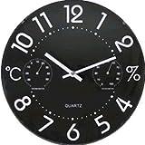 Valex Reloj DE Pared Negro con HIGROMETRO 1870028