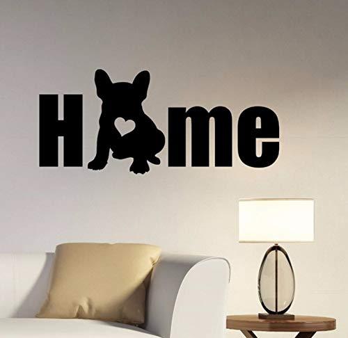 Dalxsh Hund Silhouette Wandtattoo Zitat Home Vinyl Französisch Bulldog Wandaufkleber Wohnzimmer Kunst Wandbild Pet Puppy Entryway Decor57X22 Cm (Halloween Wallpaper Puppy)