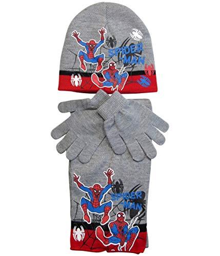 Spiderman Mütze Handschuhe und Schal Jungen (Grau, 4-7 Jahre)