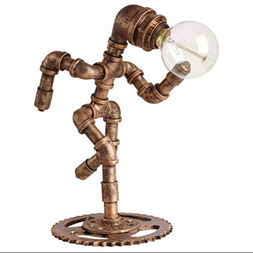 CAVEMAN Vintage Desk Lamp Motent Industrial Retro Steampunk Water Pipe Robot Table Light with Vintage Copper Gear and Switch Antique Rust Desk Iron Bed Desk Accent Light Bed Side Bedroom and Parlor