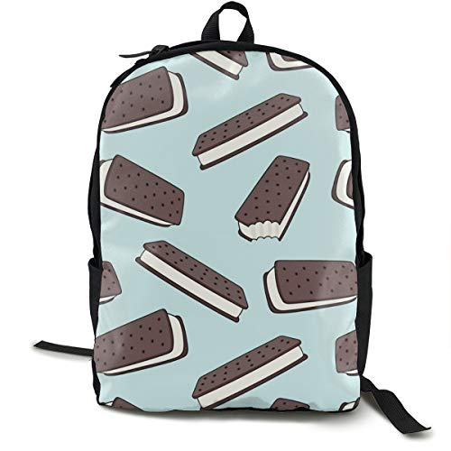 Ice Cream Sandwich - Chocolate On Blue Adult Premium Travel Backpack, Water-Resistant College School Bookbag, Sport Daypack, Outdoor Rucksack, Laptop Bag for Men&Women