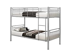 Birlea Rhodes 3ft Single Metal Bunk Bed, Silver