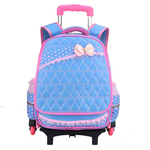 TONGSH Kinder Rucksack Trolley Jungen Mädchen Schultasche Kinder Rucksack Rolling Backpack mit Rädern (Farbe : Blau) (Rucksack Samsonite Räder)