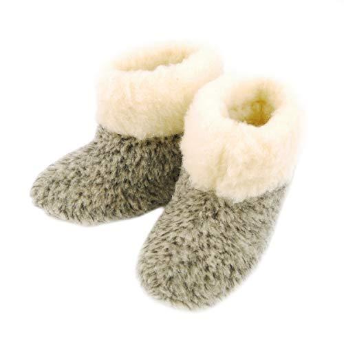 DF-SOFT Winter Pantoffeln aus Schafwolle Wärme Schlappen Hüttenschuhe Gemütlich Kuschelig Gefüttert Warm Hausschuhe Pantoffeln Unisex für Erwachsen Modell 116, Grau, 36 EU
