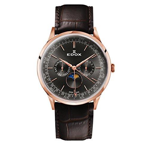 EDOX Men's Analogue Quartz Watch with Leather Strap 40101-37RC-GIR