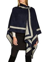 CASPAR PON013 Poncho Bicolor para Mujer