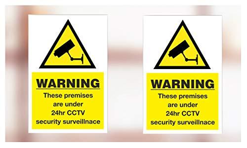 """Aufkleber mit englischsprachiger Aufschrift: \""""Warning these premises are under 24hr CCTV security surveillance\"""""""