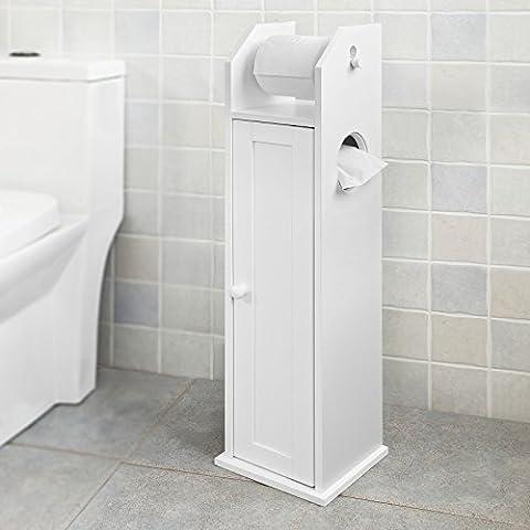 SoBuy® FRG135-W Support Papier Toilette Armoir Porte-papier Toilettes Porte Brosse WC en Bois - Blanc