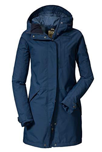 Schöffel Malmö Damen Parka, leichte Damen Jacke für Frühjahr und Sommer, wasserdichte Sommerjacke für Frauen mit praktischen Taschen , sargasso sea , 40