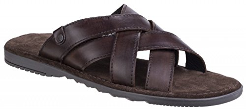 Base London Mens Apollo Washed Leather Cross Strap Summer Sandals - Leder-rolled Strap
