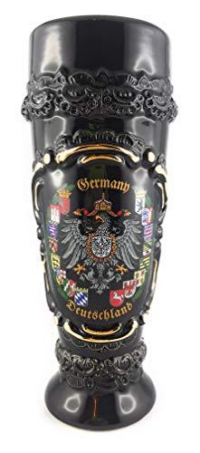 Beersteincenter Bierkrug für Weizenbier 0,5 Liter Weizenkrug/Glas Hefeweizen (Schwarz, 0,5 Liter) -