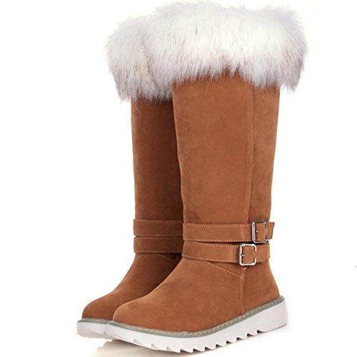 TAOFFEN Damen Klassischer Flache Stiefel Snow Boots Halbschaft Stiefel Gelb