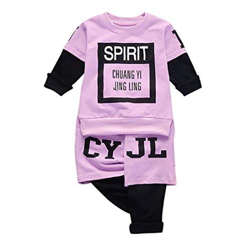 leinkind Kinder Zwillinge Säugling Baby Mädchen Jungen Romper + Langarm Brief Print Tops + Cap Bekleidung Outfit Set (90, lila) (Niedliche Halloween-kostüme Für Zwillinge)
