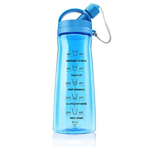 1L Botella Gimnasio sin BPA Tritan Plastico Reutilizable Botellas de Agua Deporte...