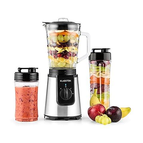 Klarstein • Shiva • Standmixer • Küchenmixer • Smoothiemaker • Blender • 350 Watt • Edelstahlklingen • 0,8 Liter Glaskrug (geschmacksneutral) • 2 Mixerbecher aus Kunsststoff (BPA-frei) • 2 Geschwindigkeitsstufen • Puls Funktion • Verschlussdeckel • schwarz