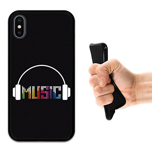iPhone X Hülle, WoowCase Handyhülle Silikon für [ iPhone X ] Kopfhörer Handytasche Handy Cover Case Schutzhülle Flexible TPU - Schwarz Housse Gel iPhone X Schwarze D0191