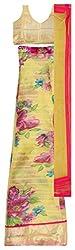 Clickedia Womens Net Semi-Stitched Lehenga Choli (Beige)