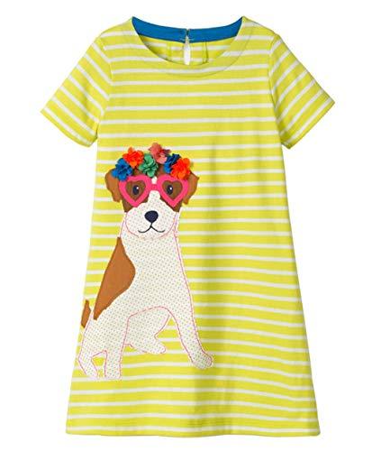 Kleid kurzärmelige Baumwolle Gestreiften Cartoon Niedlichen Tier Aufkleber Hund Muster Kleid kleines Mädchen T-Shirt 1-8 Jahre Alt ()