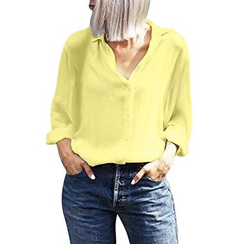 Einfarbiges Bluse Damen Elegant Langarm Revers Knöpfen Shirts Büro Pendeln Oberteile Einfacher Stil Freizeit Locker T-Shirt Tops Tunika (2XL, Gelb) -