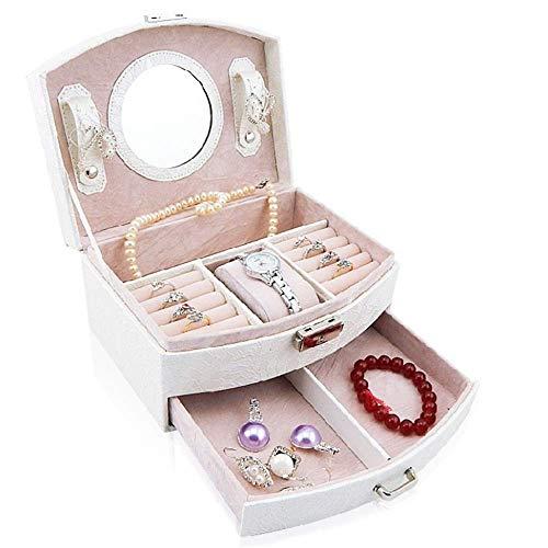AYHa Schmuckschatulle mädchen schmuck veranstalter spiegel mini koffer kann sperren weiß für ringe ohrringe halskette,Weiß