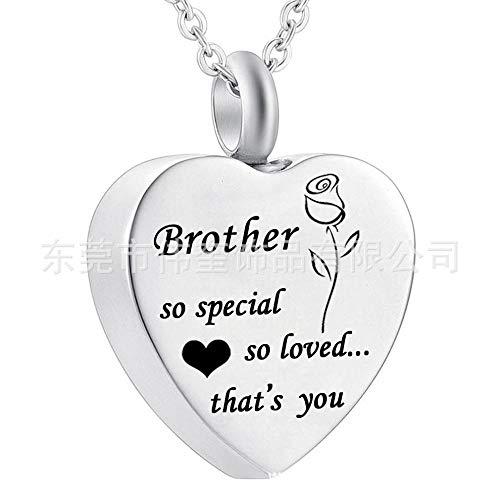 GROEOY Asche HalskettePet Haar Asche Halskette herzförmige gravierte Rose Bruder Brüder Rose