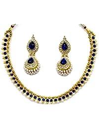 Shree Mauli Creation Blue Alloy Dark Blue Big Gota Pearl Polki Necklace Set For Women SMCN58