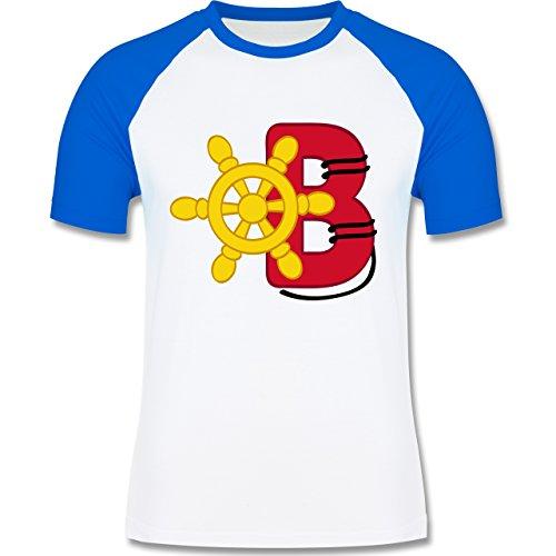 Anfangsbuchstaben - B Schifffahrt - zweifarbiges Baseballshirt für Männer Weiß/Royalblau
