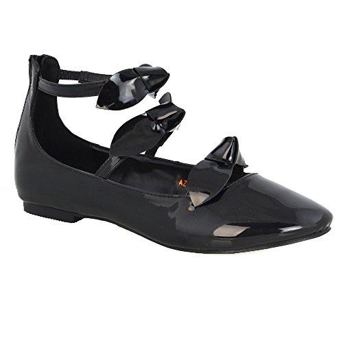 ESSEX GLAM Scarpa Donna Sintetico Ballerina Cinturino Caviglia Fiocco Nero Finto Patentato