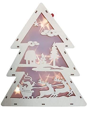 LED Holz Tannenbaum mit Hologramm-Folie 3D-Effekt LED-Lichterkette und Timer Weihnachtsdeko Winterlandschaft mit Weihnachtsmann und Rentiere