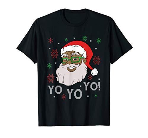 Lustiger Schwarzer Weihnachtsmann Santa Claus Weihnachten T-Shirt (Herren Santa Claus Kostüm Tshirt)