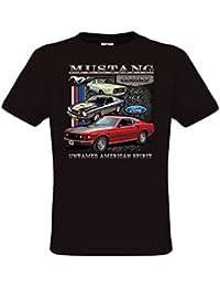 Ethno Designs - Ford Mustang Untamed - Hot Rod T-Shirt pour Hommes - Old School Rockabilly Vintage Retro Style - regular fit