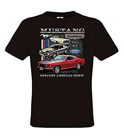 Ethno Designs - Ford Mustang Untamed - Hot Rod T-Shirt pour Hommes - Old School Rockabilly Vintage Retro Style - regular fit, noir, taille M