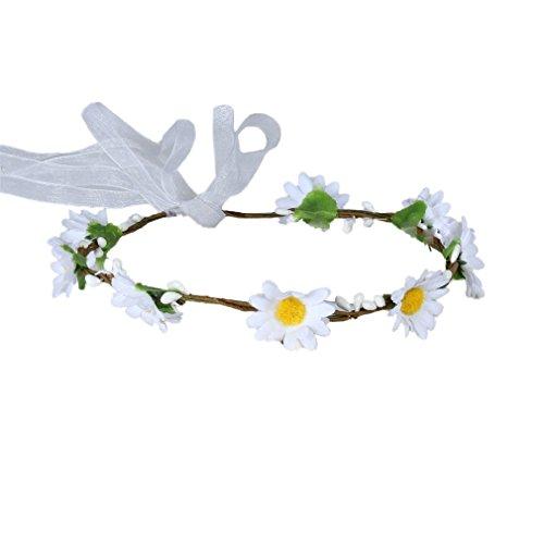YAZILIND Sun Flower corona de Dama de honor rota floral guirnalda nupcial diadema para los festivales de la boda (blanco)