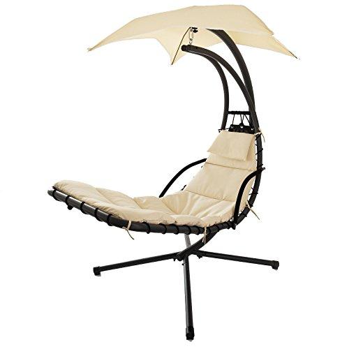 SoBuy®Mecedora regulable con cojines, sillón balancín jardín , hamaca helicóptero ,Tumbona ,OGS16,ES