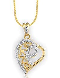 Spargz Beautiful Heart Shaped Gold Plated Pendant With CZ Diamond For Women AIP 158