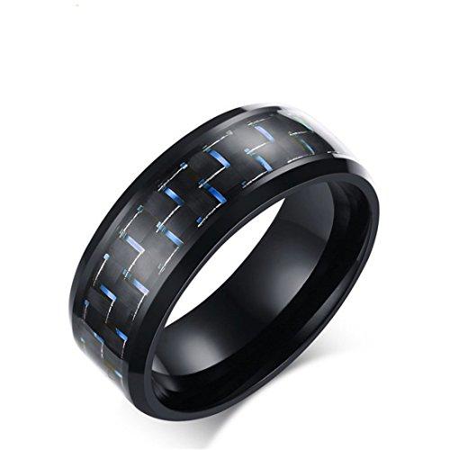 Goodful Schmuck Wolframcarbidring Herren Ring Wolframcarbid Hochglanzpoliert Kohlenstoff Faser Schwarz Gold Männerringe Ringe Größe 55 bis 67 (Blue, 65-20,7(11)) (Herren Schwarz Kohlenstoff Faser Ring)