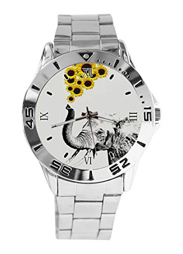 Reloj de Pulsera analógico con diseño de Elefantes y Girasoles, de Cuarzo,...
