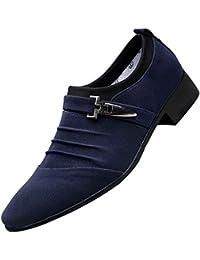 ALIKEEYLos Hombres Zapatos Casuales Zapatos De Dedo Señalado Formal Zapatos De Lona Zapatos De Moda Negocio