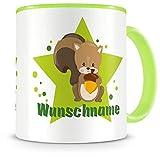 Samunshi® Kinder-Tasse mit Namen und Eichhörnchen als Motiv Bild Kaffeetasse Teetasse Becher Kakaotasse