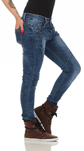 Fashion4Young Damen Jeans Röhrenjeans Haremshose Baggy Haremsjeans Boyfriend Damenjeans 5744-dunkelblau