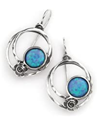 Oval hoop earrings with round opal stones