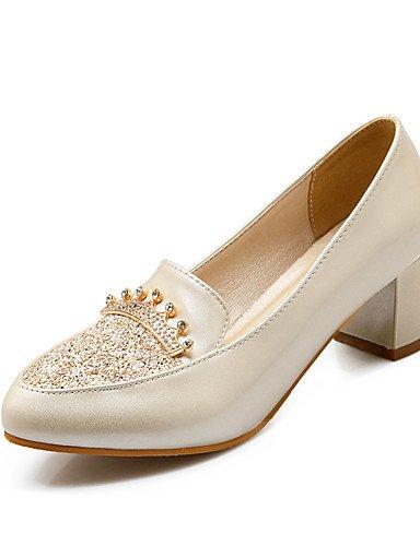 WSS 2016 Chaussures Femme-Bureau & Travail / Décontracté-Bleu / Rose / Blanc / Beige-Gros Talon-Talons / Bout Fermé / Confort / Bout Pointu-Talons- white-us8 / eu39 / uk6 / cn39