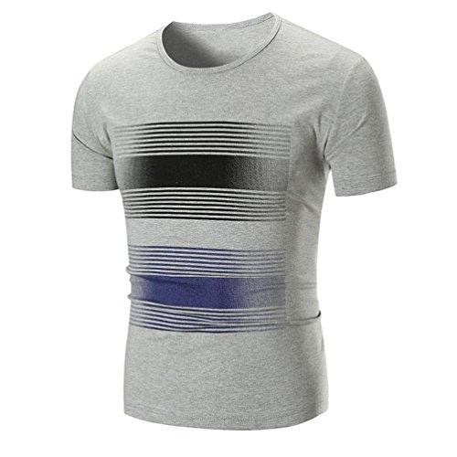Kanpola T-Shirts Herren Sommer Gestreift Print Plus Größen Kurzarm Shirts Tops Gestreiftes Shirt Affe
