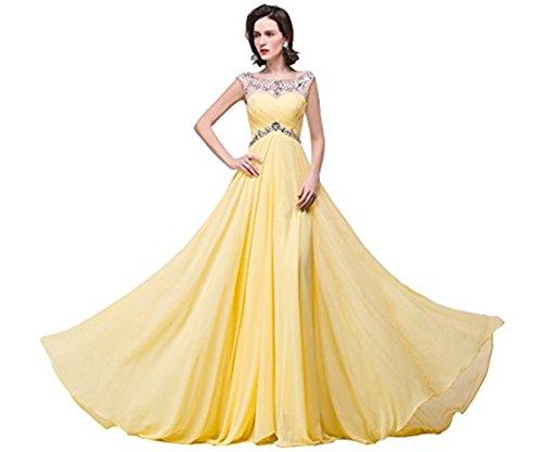 Babyonline- Damen Elegant Ärmellos A-Linie Chiffon Perlenbesticktes Kleid Maxi 32-46 Gelb