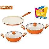 Nirlon 4 Layer Ceramic Coating Non-Stick Induction Base- Cooking Pan & Pots Set Of 3 & Serve (Aluminium, Stainless Steel, Bakelite, Glass)-Orange
