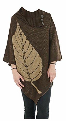 Generic - Poncho - Cape - Femme Brown Leaf