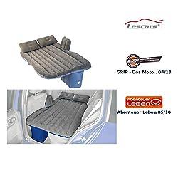 Lescars Auto Matratze: Aufblasbares Bett für den Auto-Rücksitz, mit Kissen und Fußraum-Stütze (Autoluftbett)